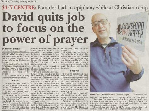 Essex Chronicle article  290115 jpg
