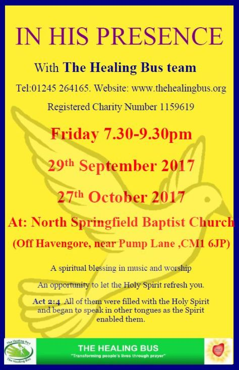 In His Presence - Healing Bus evenings Autumn 2017