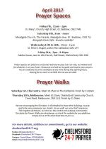 Prayer Space & Walks times and dates leaflet Apr 2017 revised