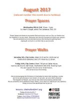 Prayer Space & Walks times and dates leaflet Aug 2017
