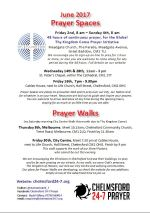 Prayer Space & Walks times and dates leaflet June 2017