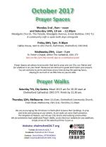 Prayer Space & Walks times and dates leaflet Oct 2017