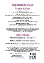 Prayer Space & Walks times and dates leaflet Sept 2017