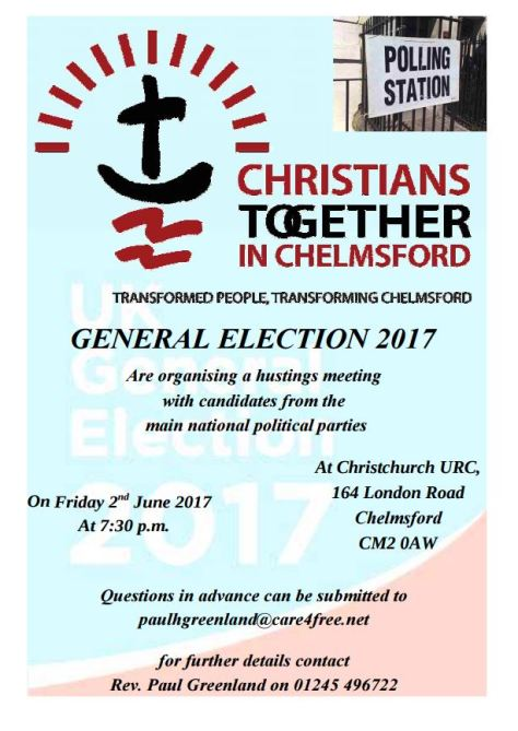 Election Hustings poster 2 June 2017