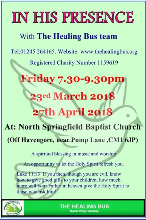 In His Presence - Healing Bus evenings Mar Apr 2018